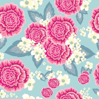 ピンクと黄色のバラのシームレスパターン