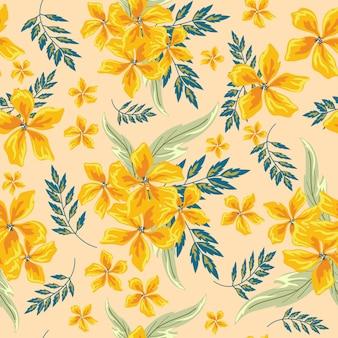 Желтый цветок бесшовный фон