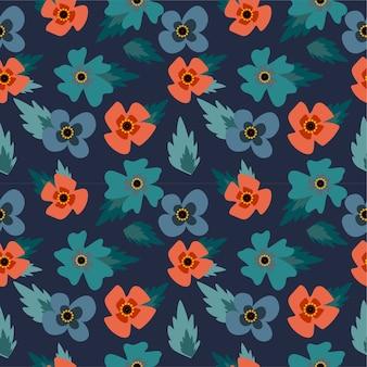青と赤の花