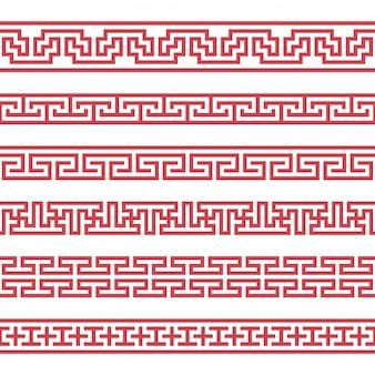 ベクトル韓国の罫線のセット