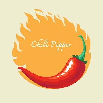 Горячий перец чили с огненным фоном