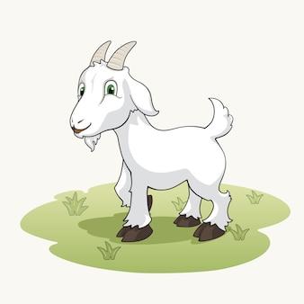 かわいい漫画ヤギ、草の上に