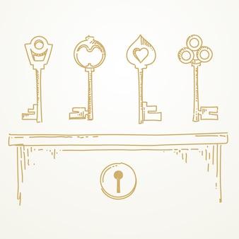Ключи эскиз рисованной