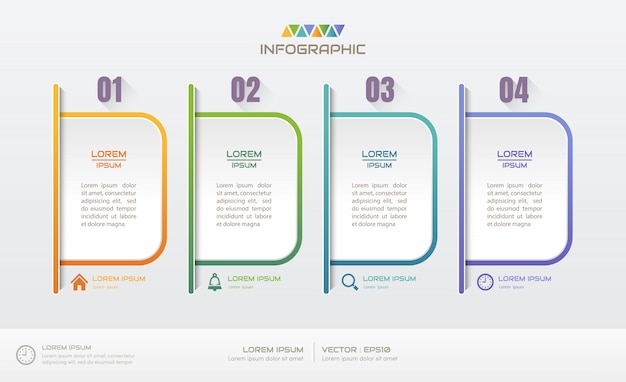 Инфографика дизайн шаблона с четырьмя шагами
