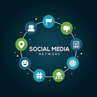 Концепция сети социальных медиа.