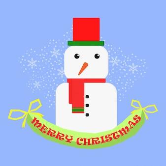 Счастливого рождества счастливого рождества товарищи забавный снеговик в рождественской снежной сцене