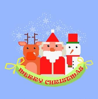 Смешной санта-клаус снеговик оленей в сцене снега рождество