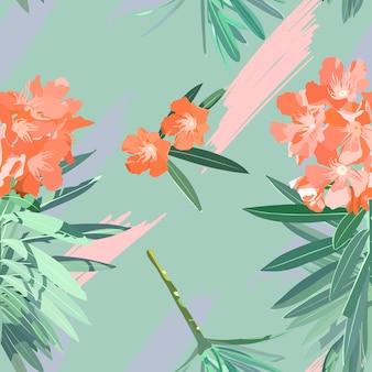 スウィートオレアンダーの花のシームレスパターン