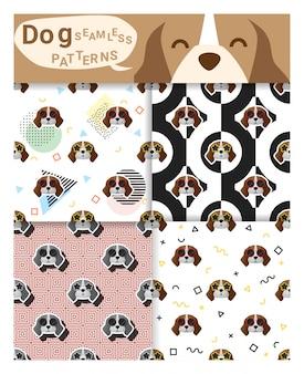 ビーグル犬と動物のシームレスパターンのセット