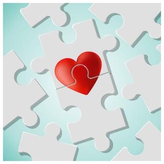 赤いハートのパズルのピースと真の愛の概念が一緒に参加します。
