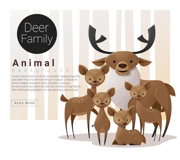 鹿とかわいい動物家族の背景