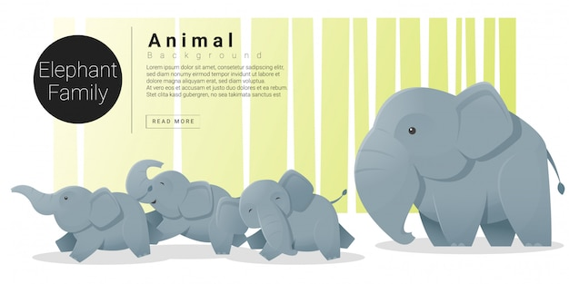 象とかわいい動物家族の背景