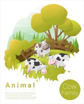 牛とかわいい動物家族の背景