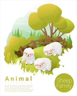 Милый семейный фон животных с овцами