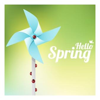 カラフルな風車のてんとう虫とこんにちは春の背景