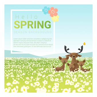 こんにちは鹿家族と春の風景の背景