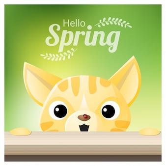 こんにちは猫と春の季節の背景