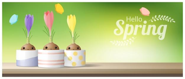 こんにちは春クロッカスと春の背景