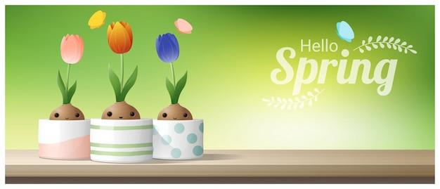 こんにちは、春の花チューリップと春の背景