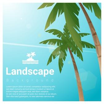 熱帯のビーチでヤシの木と風景の背景