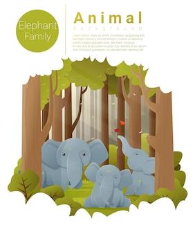 Лесной пейзаж фон со слонами