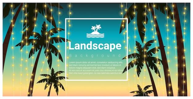 熱帯のビーチパーティーでヤシの木と風景の背景