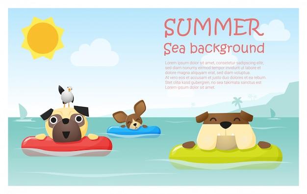 小さな犬、テキストテンプレートと熱帯の夏の休暇を楽しむ