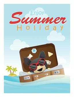 小さな犬と一緒に熱帯の夏の休暇を楽しむ