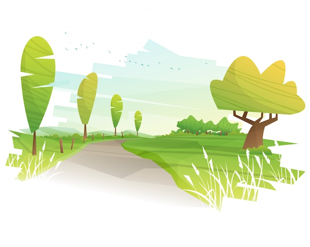 Иллюстрированный красивый пейзаж