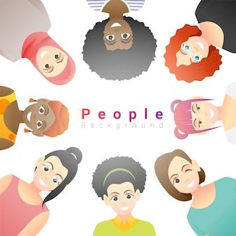 幸せな多民族の女性のグループ