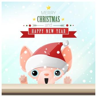 サンタの帽子と猫のクリスマスの挨拶