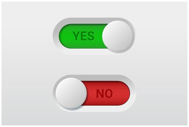 Да и нет переключателей кнопок переключения