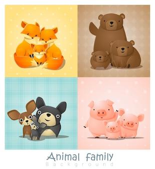 かわいい動物の家族の肖像画のセット