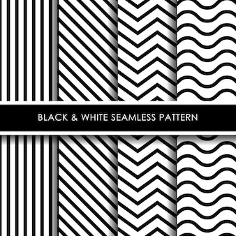黒と白の線のシームレスパターンコレクション