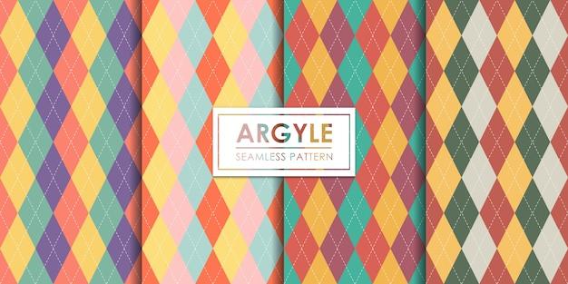 アーガイルのシームレスパターンセット、装飾的な壁紙。