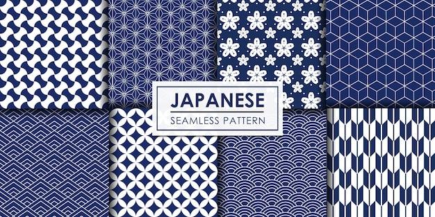 日本のシームレスパターンコレクション、装飾的な壁紙。