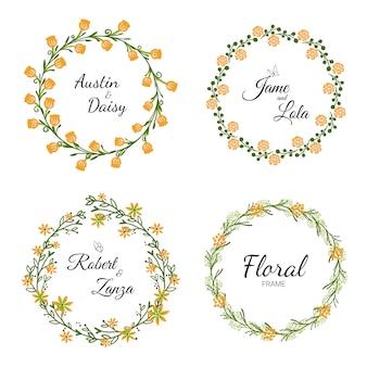 結婚式のための手描きの結婚式の花輪コレクション。