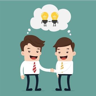 Бизнесмен обменивается идеей с идеей
