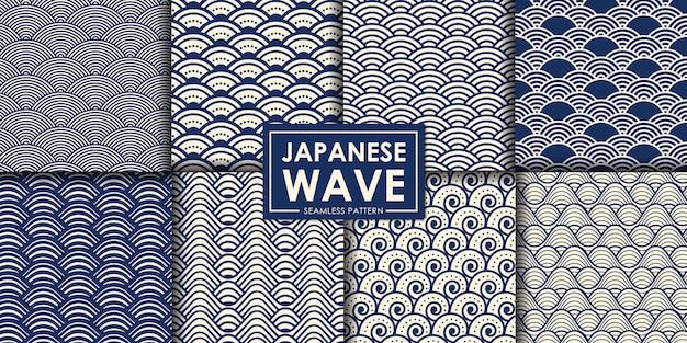 日本の波のシームレスなパターンのコレクション。