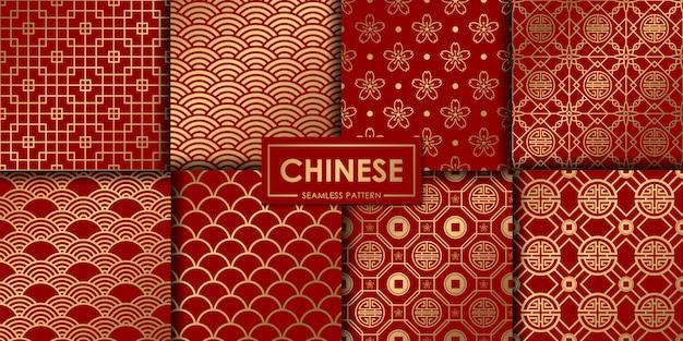 黄金の中国のシームレスパターンのコレクション。