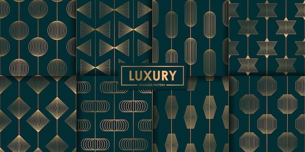 豪華な幾何学的なシームレスパターンセット、抽象的な背景、装飾的な壁紙。