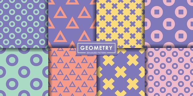 ジオメトリパステルシームレスパターンセット、抽象的な背景、装飾的な壁紙。