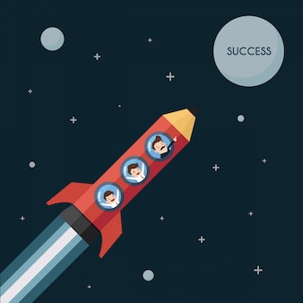 鉛筆ロケットのビジネスマンは月に行きます。