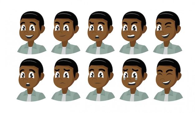 Набор различных эмоций африканского мужского персонажа.
