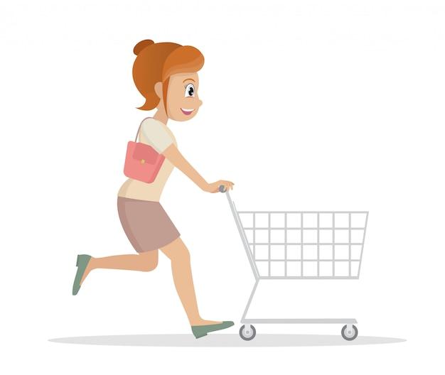 ショッピングカートで走っている女性。