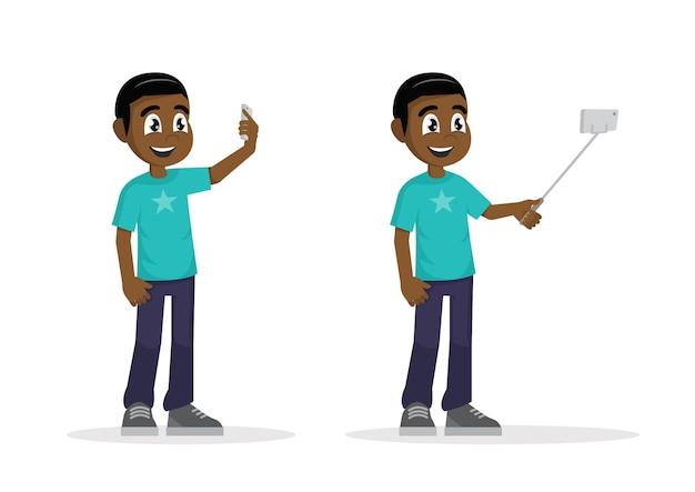 若いアフリカの男立って、自分の肖像画を作る