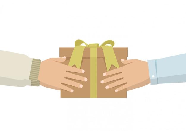 Мультяшный мужчина дарит подарок женщине
