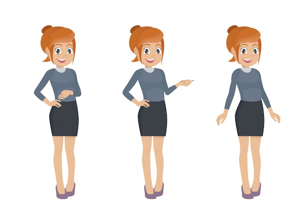 Персонажи из мультфильма позы, набор символов женского офисного работника. секретарь в разных позах.