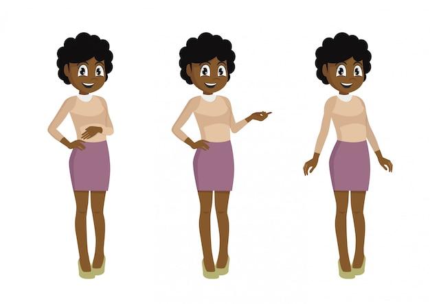 Персонажи из мультфильма позы, набор символов африканский женский офисный работник. секретарь в разных позах.