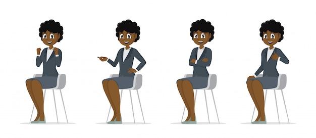 漫画のキャラクターのポーズ、セットのアフリカの女性が椅子に座る。